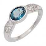 Damen Ring 925 Sterling Silber 1 Blautopas hellblau blau und Zirkonia Silberring