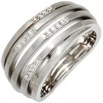 Damen Ring breit 925 Sterling Silber rhodiniert mattiert 16 Diamanten Brillanten