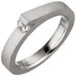 Damen Ring 925 Sterling Silber mattiert matt 1 Zirkonia Silberring