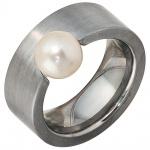 Damen Ring breit Edelstahl mattiert 1 Süßwasser PerlePerlenring