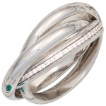 Damen Ring verschlungen 925 Sterling Silber rhodiniert 64 Zirkonia Silberring