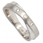Damen Ring 950 Platin mattiert 3 Diamanten Brillanten 0, 06ct. Platinring