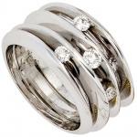 Damen Ring breit 585 Gold Weißgold 4 Diamanten Brillanten 0, 41ct. Weißgoldring