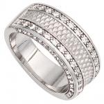 Damen Ring breit 925 Sterling Silber rhodiniert mattiert 64 Zirkonia Silberring