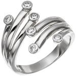 Damen Ring 925 Sterling Silber rhodiniert 6 Zirkonia Silberring