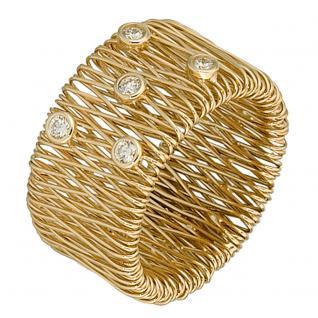 Damen Ring breit 585 Gold Gelbgold 5 Diamanten Brillanten 0, 20ct. Goldring