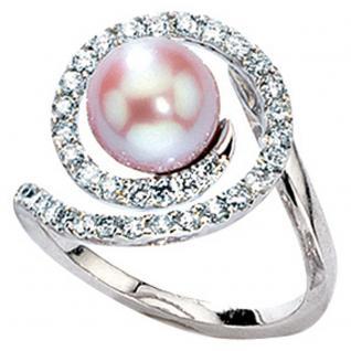 Damen Ring 585 Gold Weißgold 1 Süßwasser Perle 36 Diamanten Brillanten Goldring