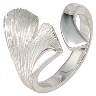 Damen Ring Ginko Ginkgo offen 925 Sterling Silber mattiert Handarbeit Silberring