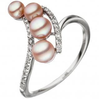 Damen Ring 585 Weißgold 4 Süßwasser Perlen rosa 24 Diamanten Brillanten