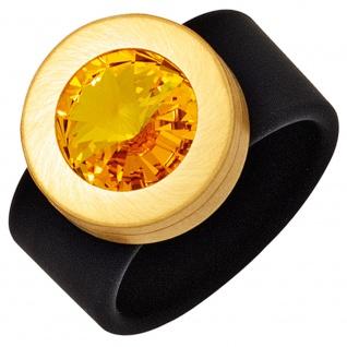 Damen Ring PVC schwarz mit Edelstahl goldfarben beschichtet 1 SWAROVSKI® ELEMENT