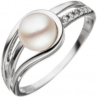 Damen Ring 585 Gold Weißgold 1 Süßwasser Perle 5 Diamanten Brillanten Goldring