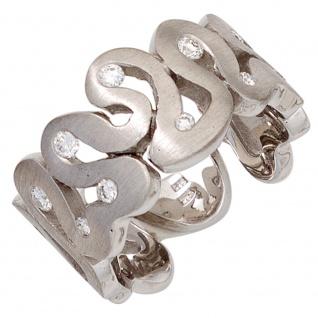 Damen Ring breit 585 Gold Weißgold matt 10 Diamanten Brillanten Weißgoldring