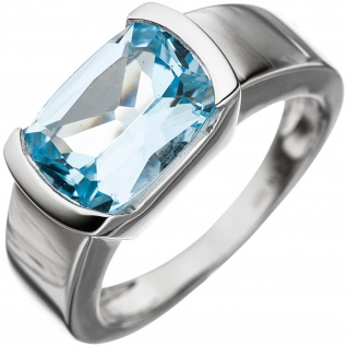 Damen Ring 585 Gold Weißgold 1 Blautopas hellblau blau Goldring