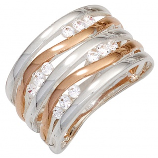 Damen Ring breit 925 Sterling Silber bicolor rotvergoldet 12 Zirkonia Silberring