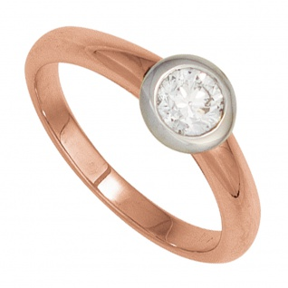 Damen Ring 585 Gold Rotgold Weißgold bicolor 1 Diamant Brillant Goldring