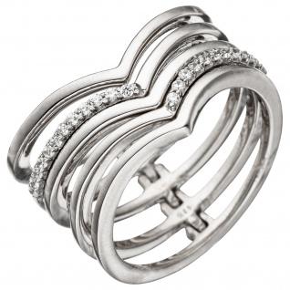 Damen Ring breit mehrreihig 925 Sterling Silber mit Zirkonia Silberring
