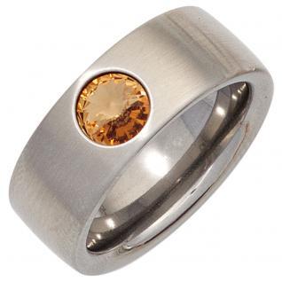 Damen Ring breit Edelstahl mattiert mit SWAROVSKI® ELEMENT champagner