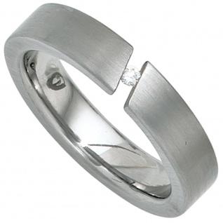 Damen Ring Edelstahl mattiert 1 Diamant Brillant 0, 03ct.