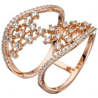 Damen Ring breit mehrreihig 925 Sterling Silber rotgold vergoldet mit Zirkonia