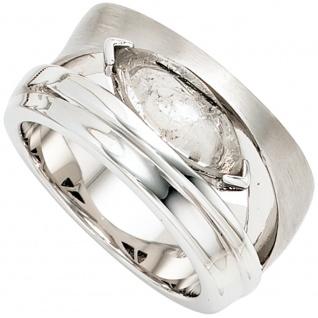 Damen Ring breit 925 Sterling Silber rhodiniert mattiert 1 Turmalinquarz