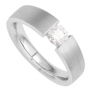 Damen Ring 585 Gold Weißgold mattiert 1 Diamant Brillant 1, 0ct. Goldring