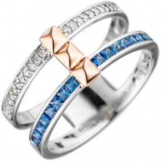 Damen Ring breit 585 Weißgold Rotgold bicolor 16 Safire blau 22 Diamanten