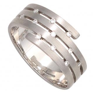 Damen Ring breit 585 Gold Weißgold matt 11 Diamanten Brillanten Weißgoldring