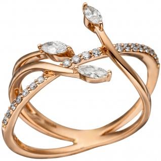 Damen Ring verschlungen 585 Gold Rotgold 22 Diamanten Brillanten Rotgoldring