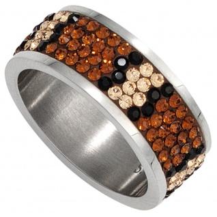 Damen Ring breit Edelstahl mit Swarovski-Elements champagner / braun
