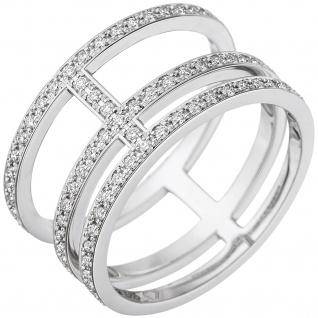 Damen Ring 3-reihig 585 Gold Weißgold mit Diamanten Brillanten Diamantring
