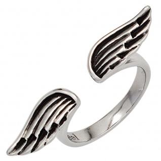 Damen Ring Flügel Engelsflügeloffen Edelstahl teilgeschwärzt