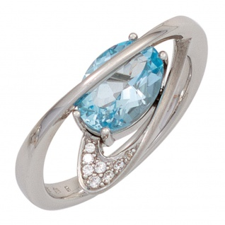 Damen Ring 925 Sterling Silber mattiert 1 Blautopas hellblau blau mit Zirkonia