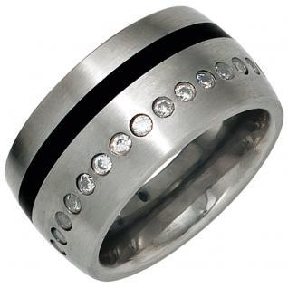 Damen Ring breit Edelstahl mattiert mit Zirkonia rundum + schwarze Lackeinlage