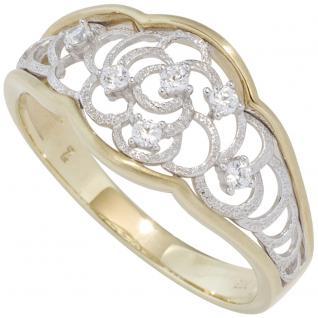 Damen Ring 333 Gold Gelbgold Weißgold bicolor mattiert mit Zirkonia Goldring