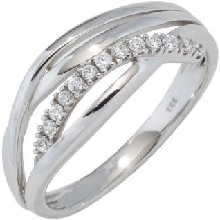 Damen Ring 333 Gold Weißgold mit Zirkonia Goldring Weißgoldring