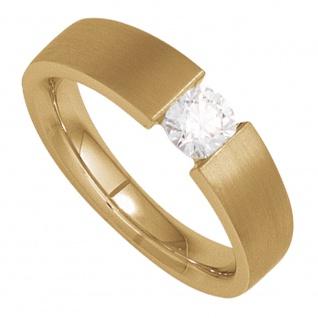 Damen Ring 585 Gold Gelbgold mattiert 1 Diamant Brillant 0, 10ct. Goldring