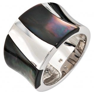 Damen Ring breit 925 Sterling Silber rhodiniert Perlmutt Einlagen Silberring