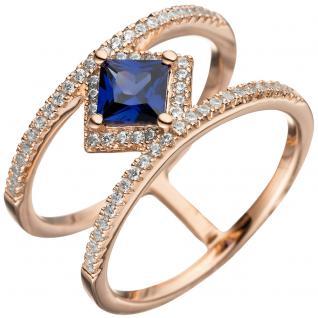 Damen Ring breit mehrreihig 925 Silber rotgold vergoldet Zirkonia Tansanit blau