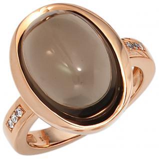 Damen Ring 585 Gold Rotgold bicolor 1 Rauchquarz braun 6 Diamanten Brillanten