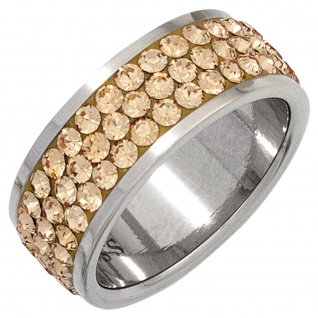 Damen Ring breit Edelstahl mit SWAROVSKI® ELEMENTS champagner