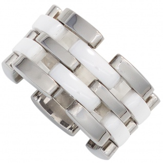 Damen Ring breit Edelstahl mit Keramik kombiniert