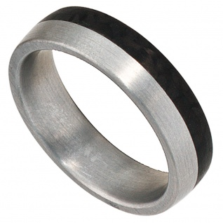 Partner Ring Edelstahl mattiert mit Carbon