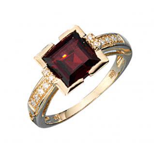 Damen Ring 585 Gold Gelbgold 1 Granat rot 12 Diamanten Brillanten Goldring