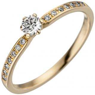 Damen Ring 585 Gold Gelbgold 15 Diamanten Brillanten Goldring Diamantring