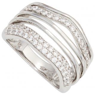 Damen Ring breit 925 Sterling Silber rhodiniert mit Zirkonia Silberring