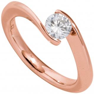 Damen Ring 585 Gold Rotgold 1 Diamant Brillant 0, 50ct. Diamantring Goldring