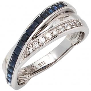Damen Ring 585 Gold Weißgold 9 Diamanten Brillanten 0, 14ct. 17 Safire blau