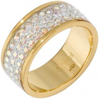 Damen Ring breit Edelstahl gelbgold farben beschichtet mit SWAROVSKI® ELEMENTS