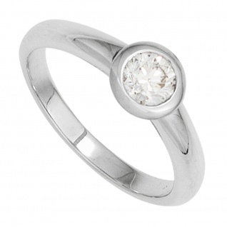 Damen Ring 585 Gold Weißgold 1 Diamant Brillant 0, 50ct. Diamantring Goldring