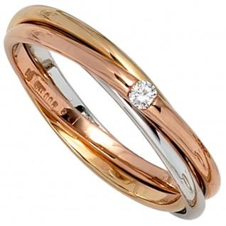 Damen Ring verschlungen 585 Gold tricolor dreifarbig 1 Diamant Brillant 0, 06ct.